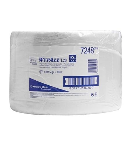 фото: Протирочный материал Kimberly-Clark WypAll L20, 7248, общего назначения, в рулоне, 380м, 2 слоя, бел