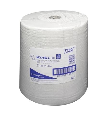 фото: Протирочный материал Kimberly-Clark WypAll L20, 7249, общего назначения, в рулоне, 380м, 2 слоя, бел