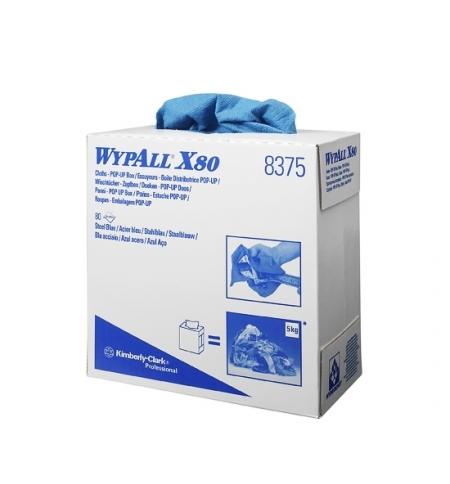 фото: Протирочные салфетки Kimberly-Clark WypAll X80 8375, листовые, 80шт, 1 слой, синие