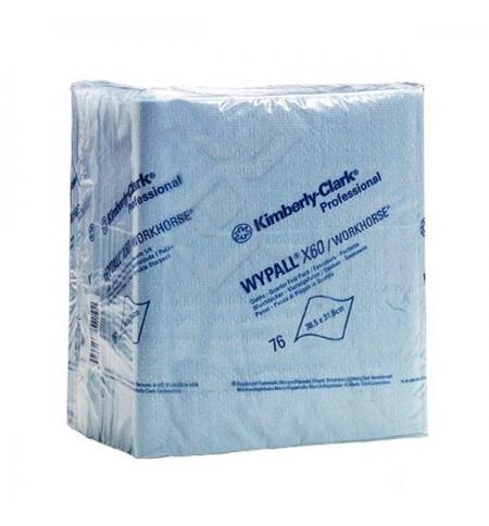 фото: Протирочные салфетки Kimberly-Clark WypAll Х60 8372, листовые, 76шт, 1 слой, синие