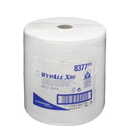 фото: Протирочный материал Kimberly-Clark WypAll X80, 8377, высокая впитываемость, в рулоне, 161.5м, 1 сло