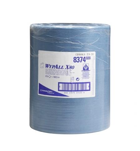 фото: Протирочный материал Kimberly-Clark WypAll Х80, 8374, высокая впитываемость, в рулоне, 180.5м, 1 сло