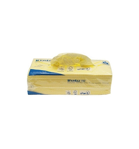 фото: Протирочные салфетки Kimberly-Clark WypAll Х50 7443, листовые, 50шт, 1 слой, желтые
