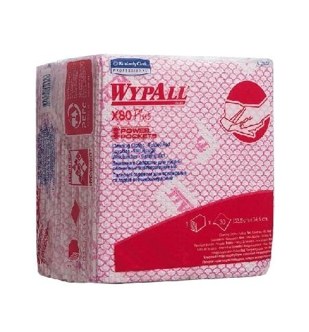 фото: Протирочные салфетки Kimberly-Clark WypAll Х80 Plus 19127, листовые, 30шт, красные